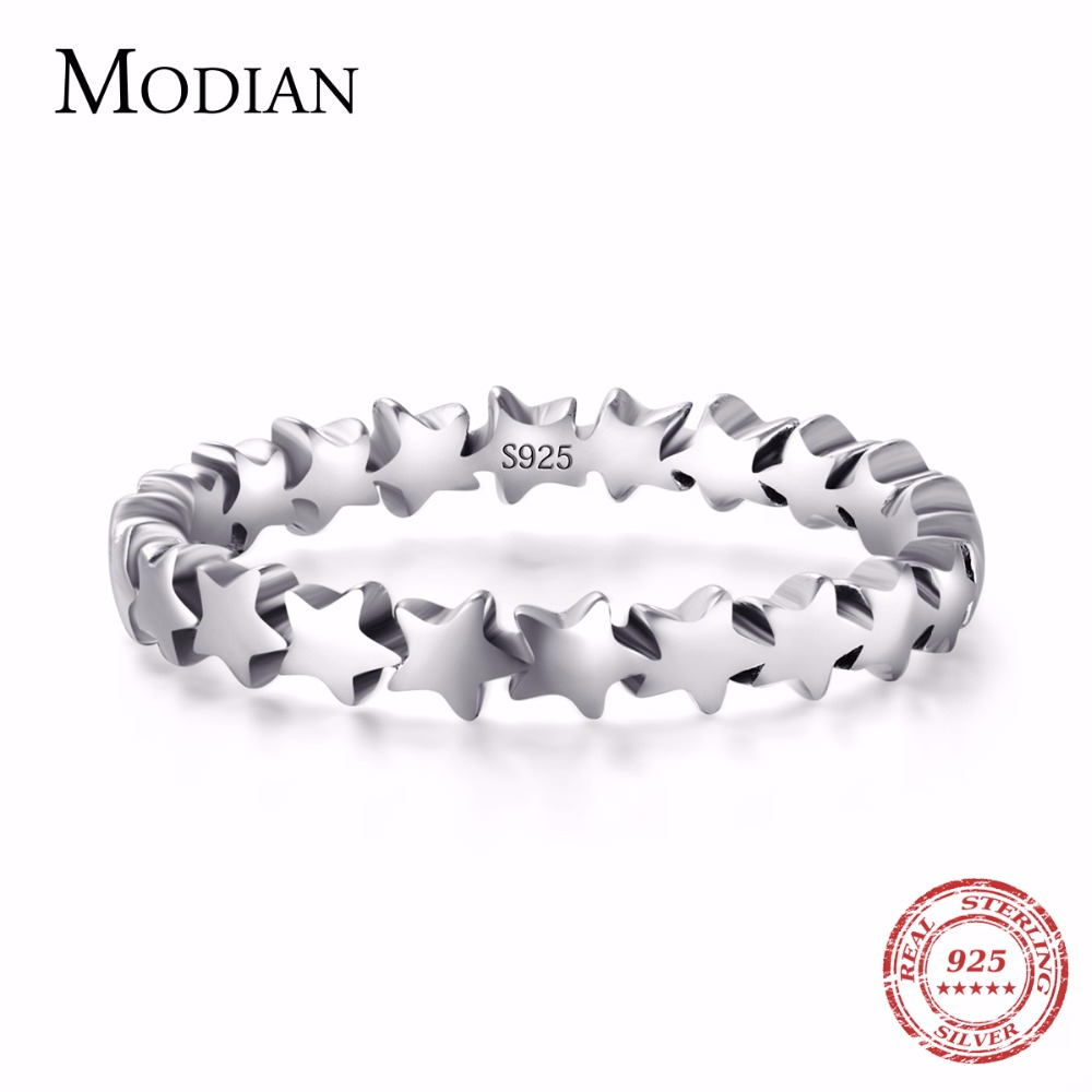 Moidan Ægte Star Real 925 sterling sølv smykker Trail Stackable Wedding Finger Stars Ring Ny mode stil til kvinderinge