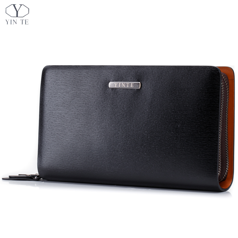 YINTE 2016 Men's Clutch Wallets Leather Bag England Style Clutch Bag Passport Purse Men Card Holder Wrist Bags Portfolio T2025-2 yinte men s clutch bags leather men wrist bags clutch handbag organizer wallet phone purses card holder men s black bag t030 2
