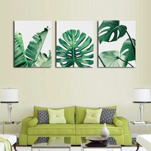 Laeacco Canvas Painting Calligraphy Watercolor Green Plant Leaf Posters and Prints Nordic Wall Artwork Pictures for Living Room