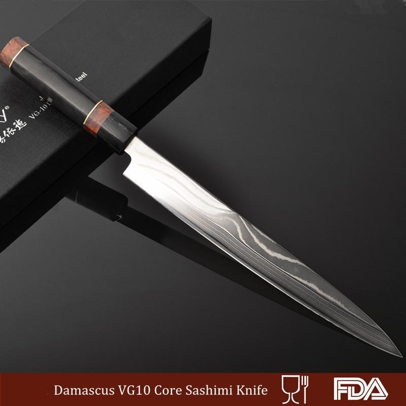 30 cm Professionnel Damas Chef Cuisine VG10 Core Couteau Poissons/Saumon Trancheuse Sushimi/Sushi Durable Résistance À La Corrosion 13.3G