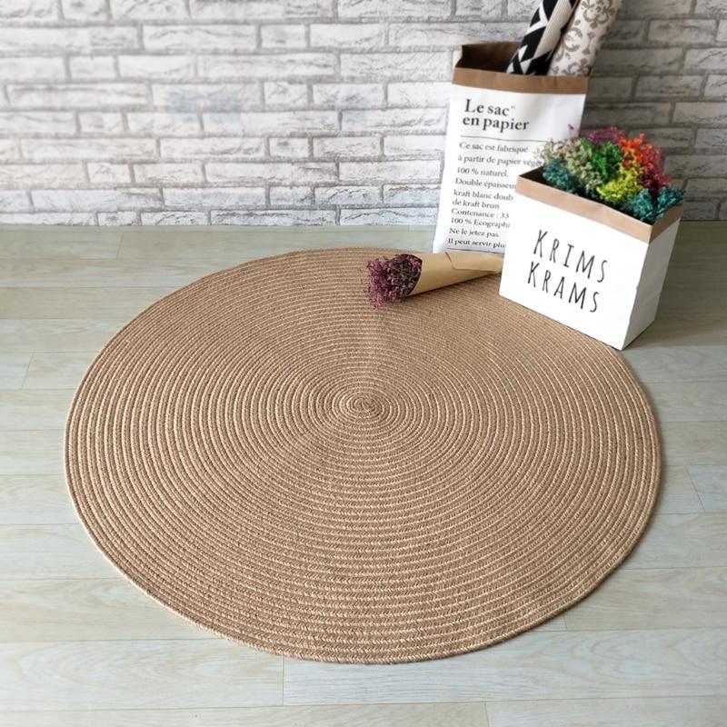 Hand Made Jute Circular Carpet Modern Simple Door Round Floor Mats American Country Natural Jute Rug.