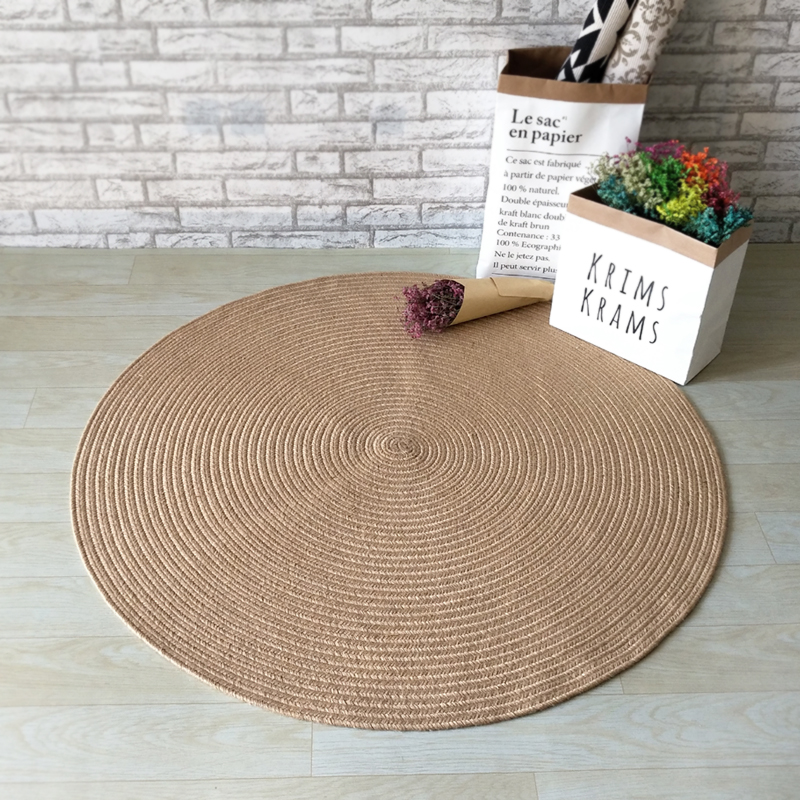 Tapis circulaire en Jute fait à la main tapis de sol rond moderne Simple porte tapis de Jute naturel de pays américain.