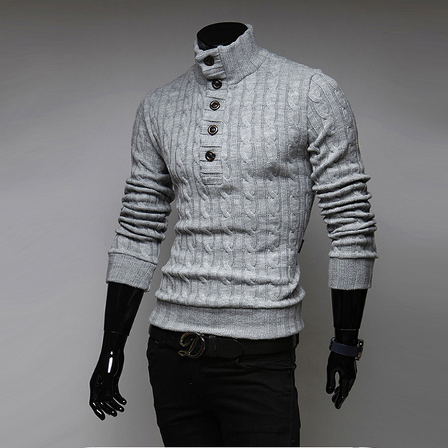 2016 Men's Sweaters Stylish Knitted Long Sleeve Hooded Turtleneck Sweater Men Sweater Male Slim Sweaters Pullover MY28