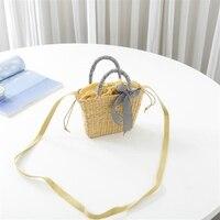 New handbag hand woven straw bag fashion shoulder Messenger bag yellow grass women's travel holiday beach bag