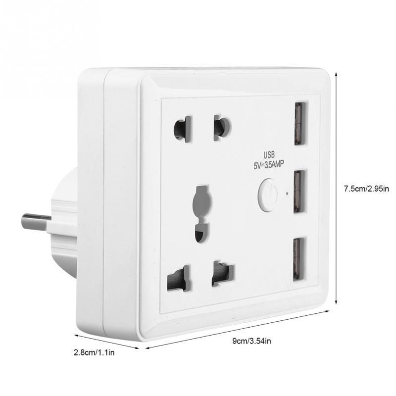 1 STÜCK multifunktionale Ladegerät Home Reise Ladegerät Power Outlet mit Drei Usb-anschluss Telefon Lade Eu-stecker AC 100 ~ 240 V