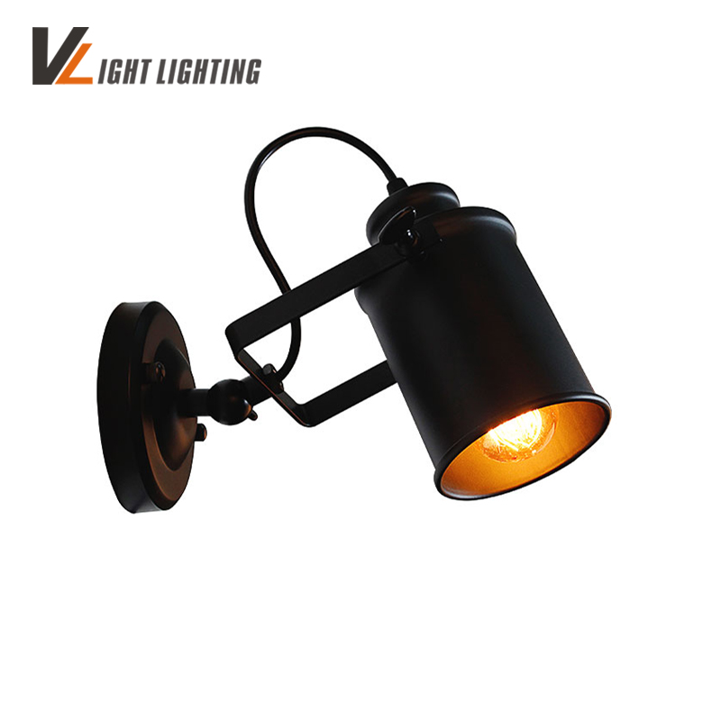 Retro Wall Lamp American Country Loft Style LED lamps Industrial Vintage Iron wall light for Bar Cafe Home Aisle Lamp american country style industrial wall lamp retro bar bedroom pulley light fixtures stairs wall lamp