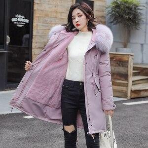 Image 5 - Fitaylor hiver femmes veste épais chaud coton manteau grand col de fourrure à capuche Parkas fausse fourrure de lapin noir rose neige Outwear