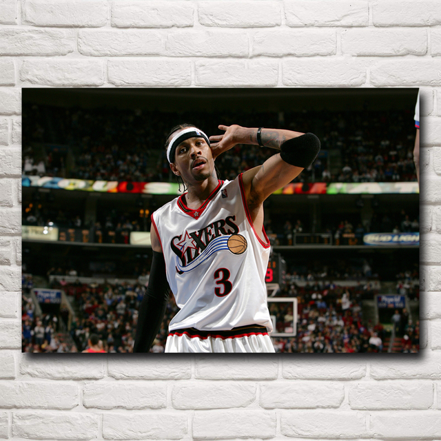 Basketball Star Allen Iverson Art Silk Fabric Poster Print Sports Pictures Wall Decor 12x18 16X24 20x30 24x36 Inch Free Shipping