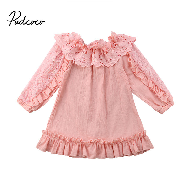 Pudcoco 2-7t Children Kids Baby Girl Lace Floral Dress Princess Girls Lace Long Sleeve Off Shoulder Party Pageant Dresses Dress 2019 Official Wallets Women's Bags