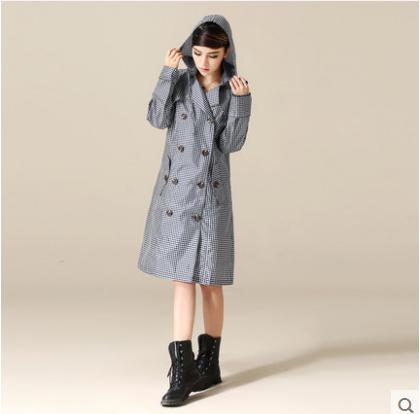 Britânico de moda Xadrez Fino impermiable Capas de Chuva capa de Chuva das mulheres À Prova D' Água Portátil Passeio Trincheira Longo casaco feminino