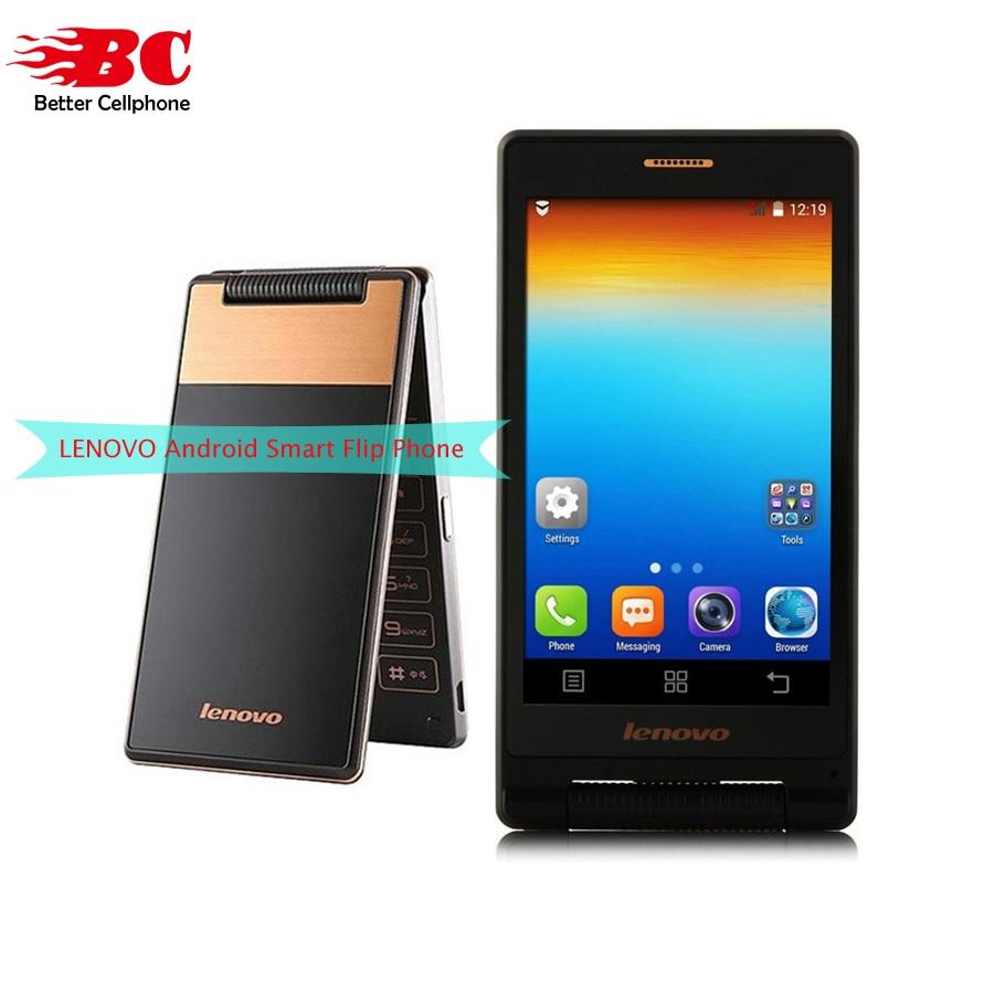 Original lenovo A588T MTK6582 Quad Core Flip Phone Smartphone 512MB RAM 4GB ROM Dual Sim 4