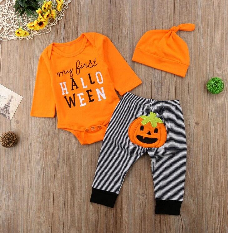 Nouveau-né Bébé Fille Halloween Vêtements Lettres Salopette Body Citrouille Pantalon Long Raie PP Pantalon 3 pcs Outfit Set