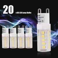 20pcs G9 LED Light Bulbs AC 230V 5W Mini LED Bulbs 360 Degree Lighting Halogen Lamp Bulbs for Chandelier Ceiling Lamp