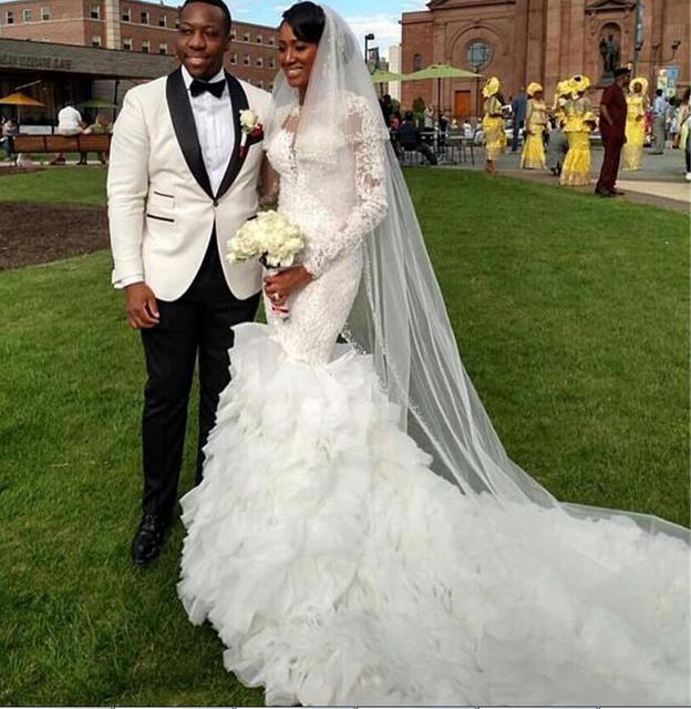 2016 Mermaid Wedding Dresses Long Sleeve High Neck With Ruffles Wedding  Bridal Gowns Vestido De Noiva Robe De Mariage W39 07fed6147e9e