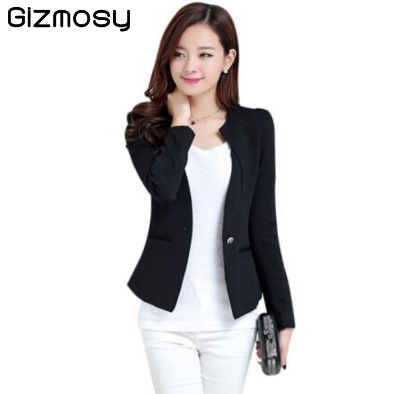 2017 New Spring Women Slim Blazer Coat Solid Plus Size Casual Jacket Long Sleeve One Button