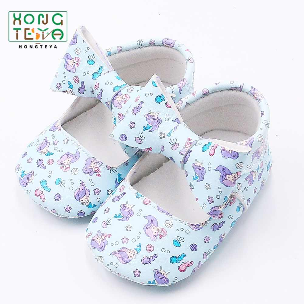 cbdf89511 PU leather Fashion Floral Bow First walkers Shoes Princess Soft Sole Baby  Moccasins Newborn Baby Girls