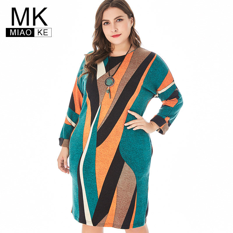 Miaoke 2019 Spring Womens Plus Size Club Knit dress High Quality Fashion Ladies Vintage Elegant office Midi Mom dresses
