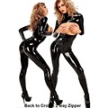 2017 Women's 2 Way Zipper Cross Crotch  Bra Open  Latex Catsuit Fancy Costume Jumpsuit Erotic Plus XXL Size