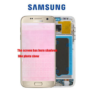 Image 4 - 5.1 SUPER AMOLED  Burn shadow LCD For Samsung Galaxy S7  Display With Frame G930 G930F LCD Screen Digitizer Assembly