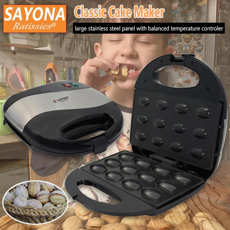 SAYONA Household Electric Walnut Cake Maker Automatic Mini Nut Waffle Bread Machine Sandwich Breakfast Pan Oven Machine EU Plug