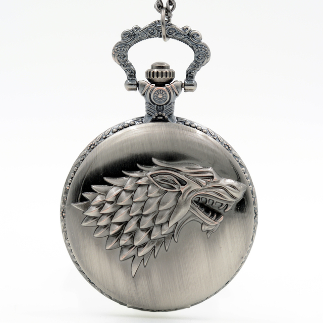 Silver Gray Winter is coming Winterfell:House Starks Family emblem Wolf Quartz P