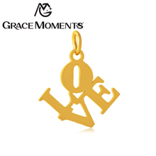 Grace Moments Full polish 16*19mm Alphabets LOVE DIY Charm Steel & Gold & Rose Gold 3 Colors Bracelet Charm Gifts 10pcs/lot