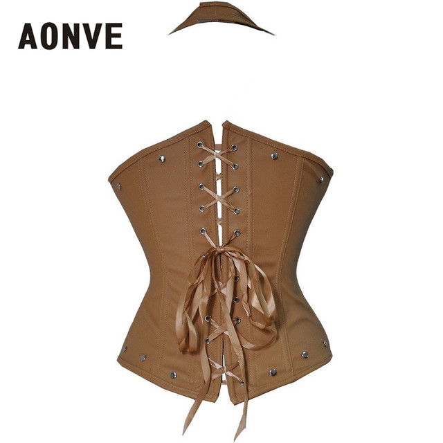 Leather Corset Steampunk Underbust Vest Gothic Studded Steel Boned Waist  Corsets and Bustiers  Modeladora 3