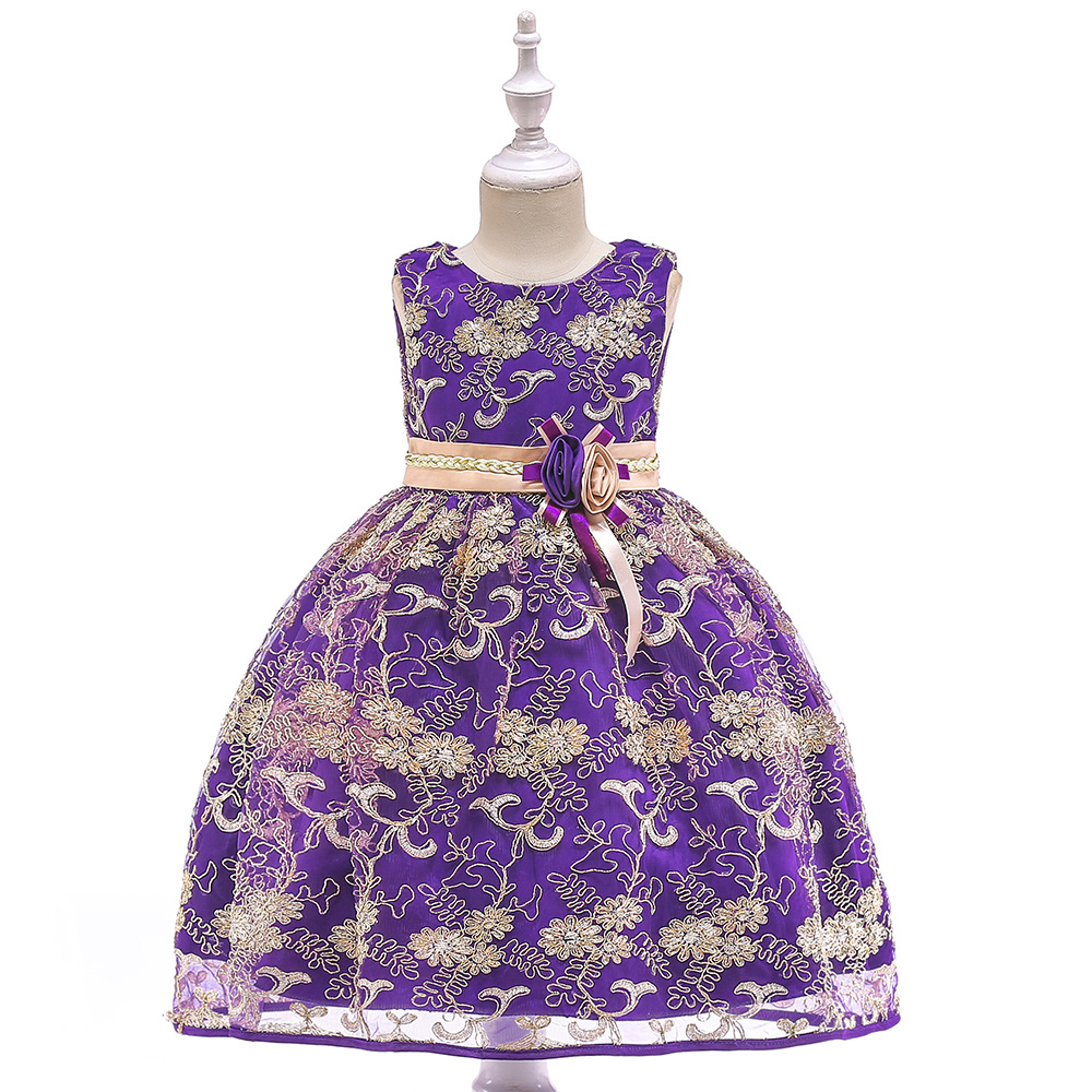 2019 Gorgeous Purple   Flower     Girl     Dresses   Beaded Cap Sleeves   Girls   Pageant   Dress   Kids Evening Gown Ball Gown Knee Length
