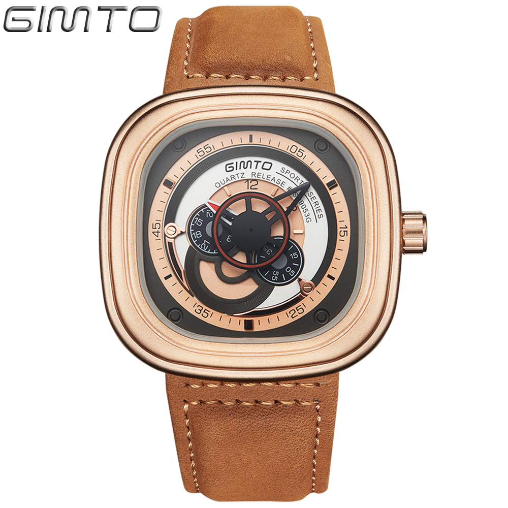 2018 Unique Square Military Men Watches Leather Band Silver Black Rose Gold Big Dial Quartz Sport Wristwatch Relogio Masculino cagarny men watch multi movt numbers strips hours marks big dial leather band men quartz military wristwatch silver dial case