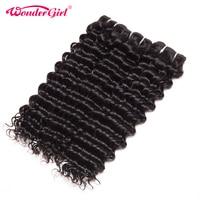 Wonder Girl Deep Wave Brazilian Hair Weave Bundles 1PC Curly Weave Human Hair Brazilian Remy Hair