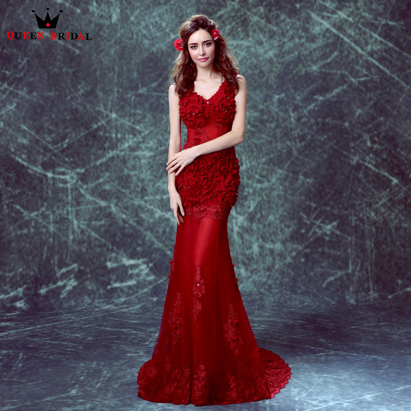 QUEEN BRIDAL Evening Dresses Mermaid V neck Flowers Sexy Wine Red Long Party Prom Dress Evening Gowns 2018 Vestido De Festa JW71-in Evening Dresses from Weddings & Events    1