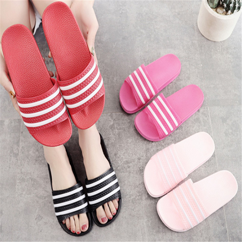 Teen Boys Girls Sandals Shoes Teenage Kids Summer Slippers Man Woman Beach Bath Shoes Home Slippers Casual Stripped PVC Shoes 9