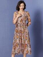 AIYANGA Bohemian Chiffon Dress For Women 2019 Summer V neck Dresses Female Long Elegant Party Dress Street Wear
