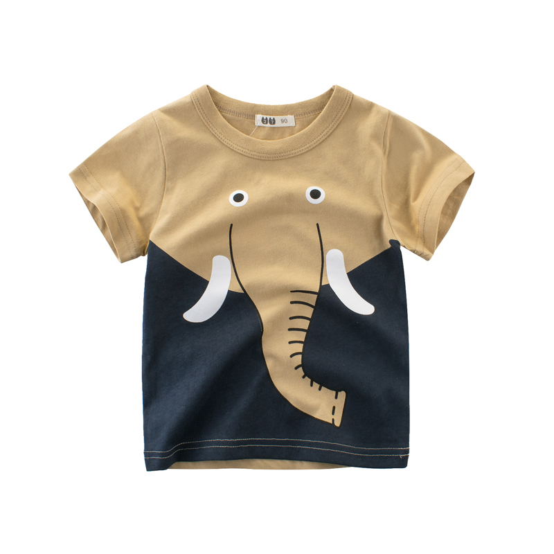 2018 Novelty Boys Tops Funny Elephant Print Cotton Short Sleeve Animal T-Shirts Kids 2-8y Children Boys Girl Kids Clothes Summer color block panel short sleeve novelty t shirts