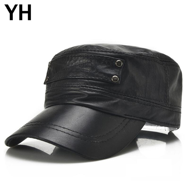 New Men Genuine Sheepskin Leather Baseball Cap Brands Quality Real Leather Flat Top Cap Autumn Winter Men Real Sheep Leather Hat