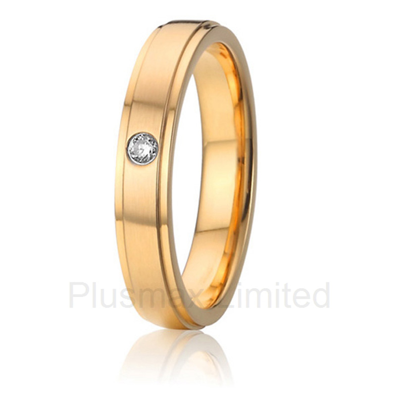 2016 China Supplier aircrafts grade pure titanium jewelry one stone bezel setting female wedding band rings gold color