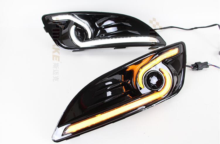 ФОТО Hireno Super-bright LED Daytime Running Light for Ford Fiesta 2013 2014 2015 Car LED DRL fog lamp 2PCS