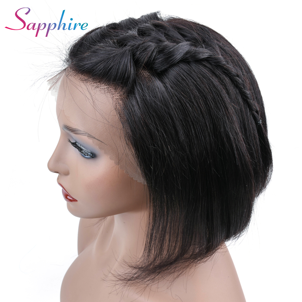 Sapphire Short Bob Wigs 13 4 Lace Frontal Wigs Malaysian Non Remy Straight Lace Front Human