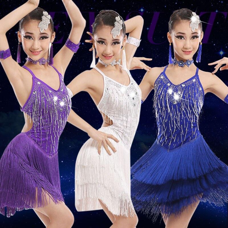 Newest Style 2017 Trendy Sexy Tassel Latin Dance Dress girls Cha Cha Rumba Samba Tango salsa Ballroom Dance Costumes