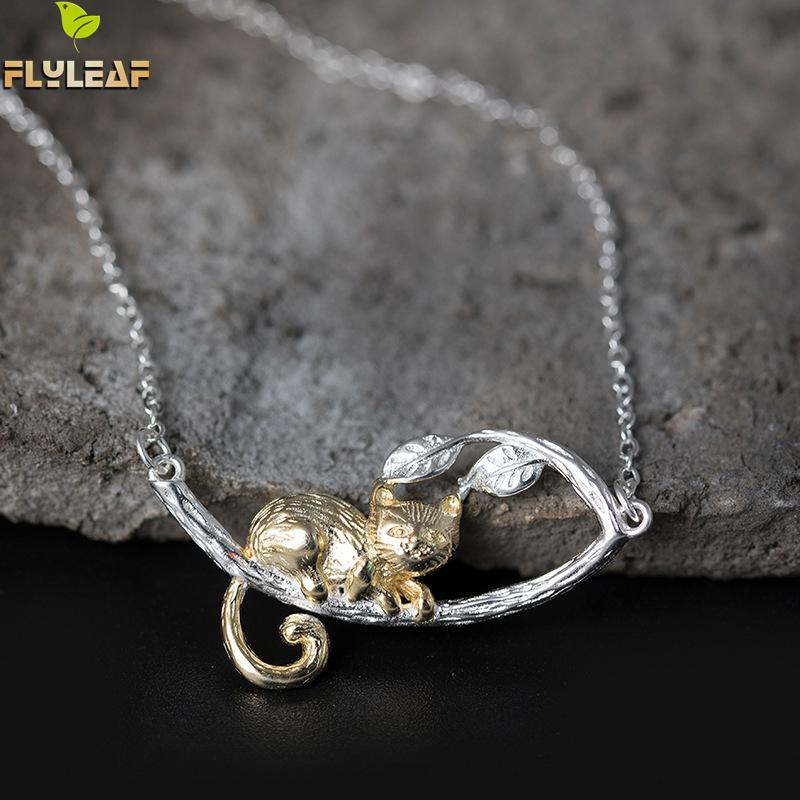 купить Flyleaf 100% 925 Sterling Silver Gold Color Tree Branches Cats Necklaces & Pendants For Women Chinese Style Fashion Jewelry недорого