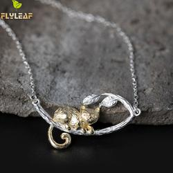 Flyleaf 100% 925 Sterling Silver Gold Color Tree Branches Cats Necklaces & Pendants For Women Chinese Style Fashion Jewelry