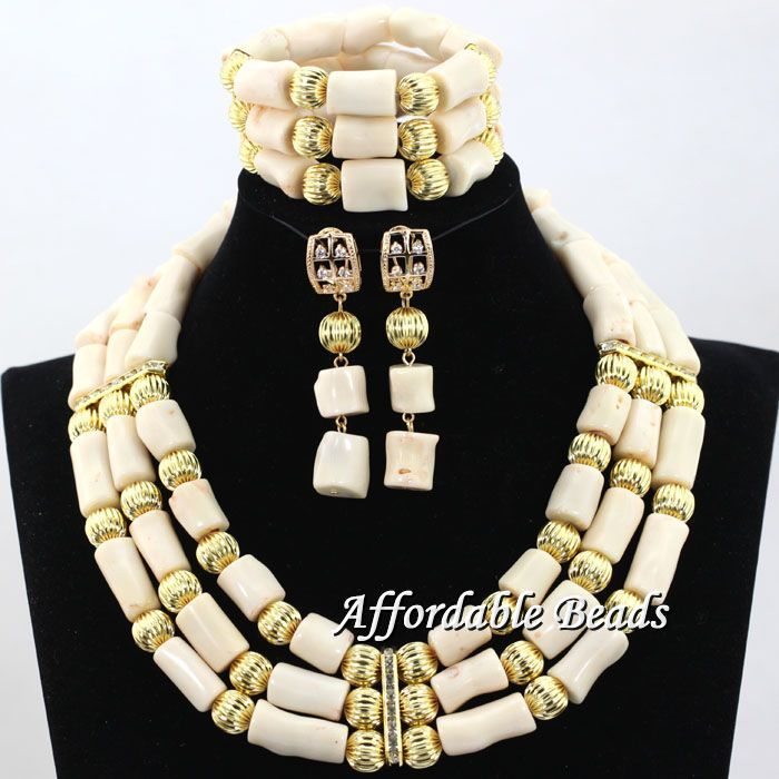 Cream Womens Coral Nigerian African Bridal Wedding Jewelry Set Beaded  Party Costume Jewelry Sets hx118Cream Womens Coral Nigerian African Bridal Wedding Jewelry Set Beaded  Party Costume Jewelry Sets hx118