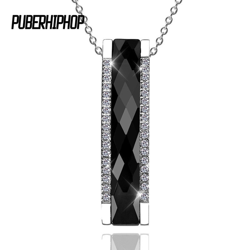 2017 Elegant Style Trendy Black Ceramic Rectangle Pendant Necklace For Women/Girl Silver Color AAA Crystal Geometric Jewelry стоимость