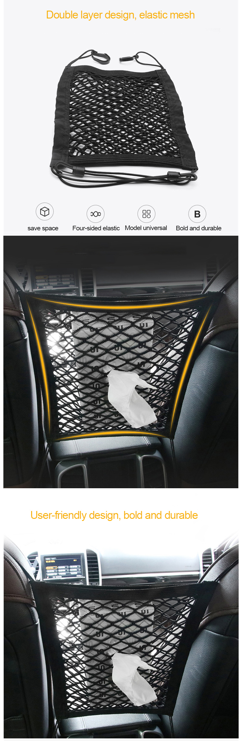 pc2 Car Organizer Storage Net For Cars Nylon Mesh Bag Car Seat Holder Automobile Pocket Stowing Tidying Auto Interior Accessoriesq