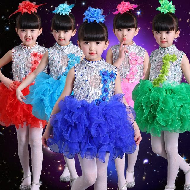 5f40c3742f 2017Children Jazz Sequins Dance Costume Modern catwalk show costumes Girl  Group Stage Performance Singing Clothes Kids Dancewear