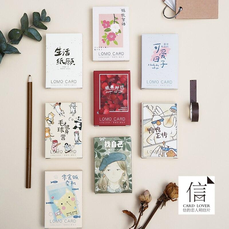 28pcs \ LOMO Card Style DIY Cute Creative Fun Greeting Card Blank Message Card Mini Postcard Student Stationery Office Supplies