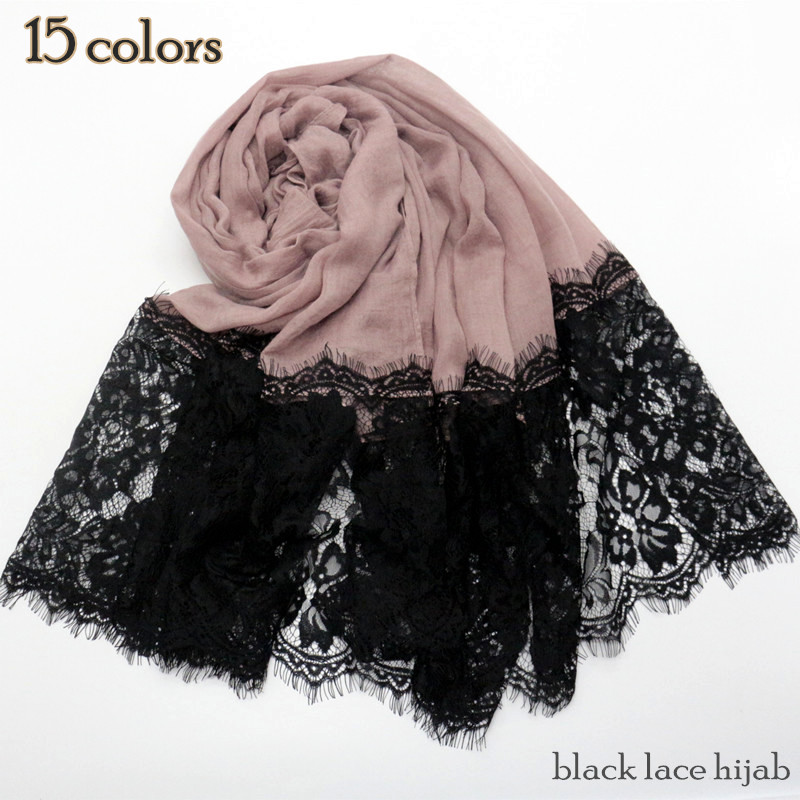 Luxury black lace hijab two side lace Cotton Big Plain Maxi Hijab Shawl lace scarves fashion