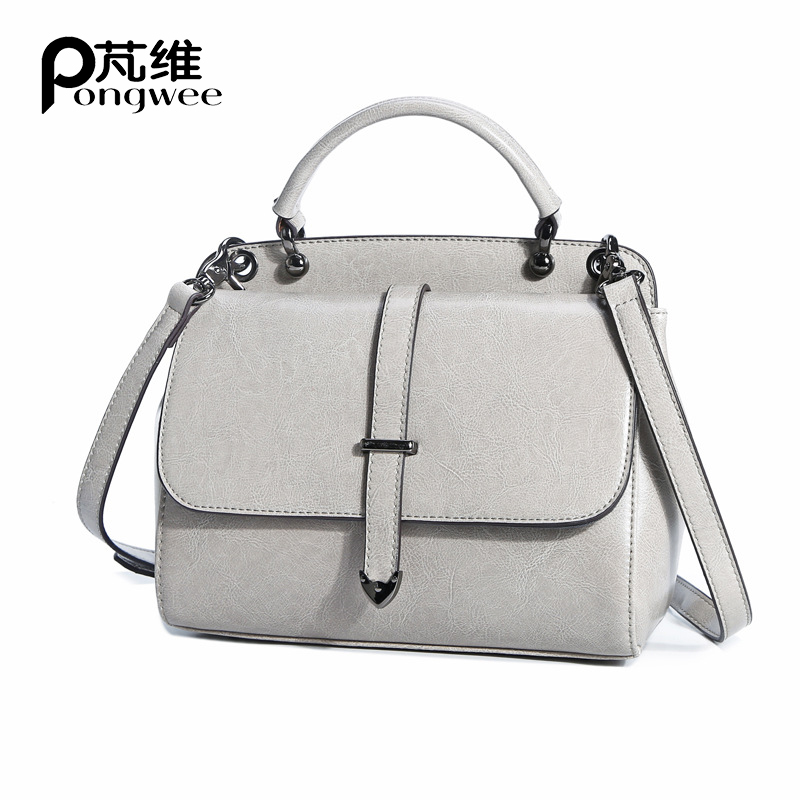 PONGWEE New High Quality Genuine Leather Bags Pattern Handbags Women Ladies Small Shopping Bag Shoulder Messenger Crossbody Bag japanese pouch small hand carry green canvas heat preservation lunch box bag for men and women shopping mama bag