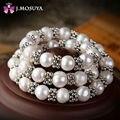 J. MOSUYA Natural Collar de Perlas de Copo de nieve de la Vendimia de Las Mujeres de La India Joyería de Perlas Reales
