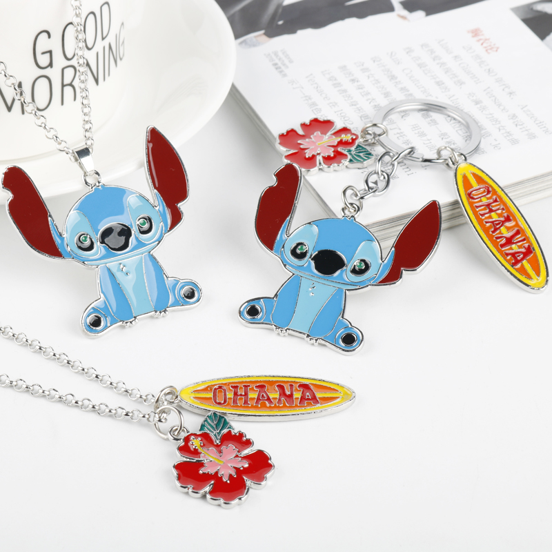 Cartoon OHANA Necklace Cute Ohana Friendship Lilo Stitch Theme Pendant Necklace Kawaii Family Women Girls Jewelry